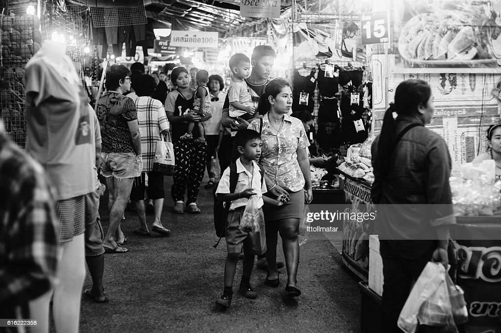 Unidentified people at thai traditional market walking street : Photo