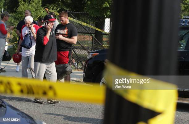 Unidentified Republican congressional members leave the Eugene Simpson Stadium Park where a shooting took place on June 14 2017 in Alexandria...