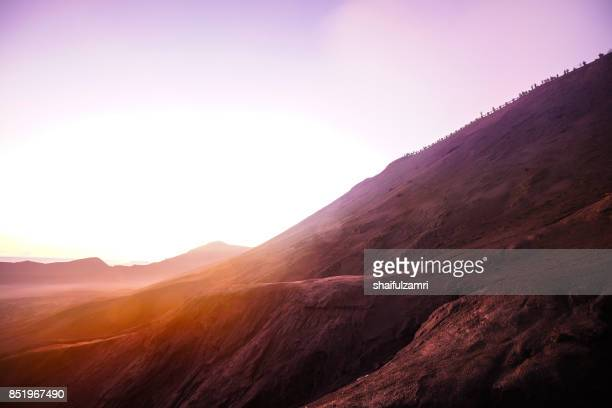 Unidentified tourists gather near Mt.Bromo in early morning for ritual spirit from local people