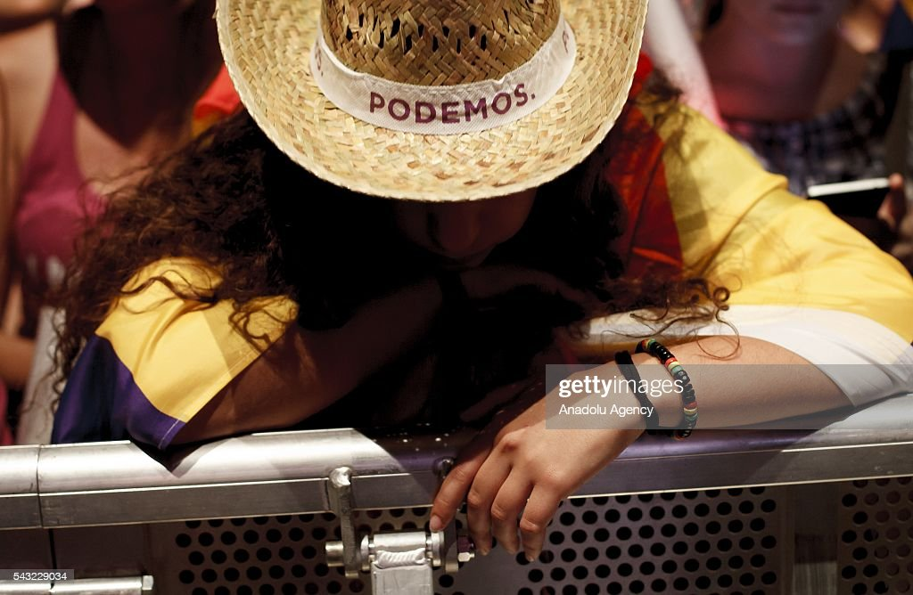 Unidos Podemos supporters wait for the result of the elections in Spain, Madrid on June 26, 2016.