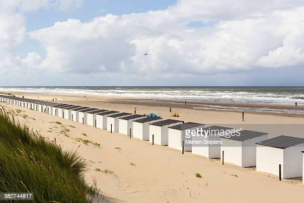 Uniform beach sheds facing the ocean