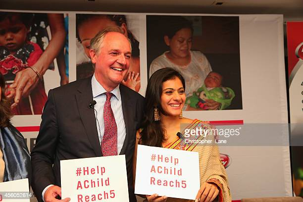 Unilever CEO Paul Polman and Help Child Reach 5 ambassador Kajol pledge to #HelpAChildReach5 during a panel discussion at UN Week at Help A Child...