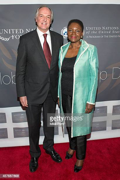 Unilever CEO Paul Polman and United Nations UnderSecretaryGeneral Valerie Amos attend the 2014 Global Leadership Dinner at Cipriani 42nd Street on...