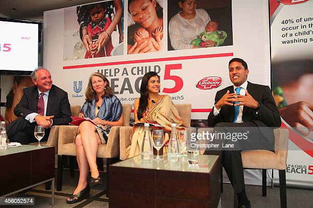 Unilever CEO Paul Polman USAID Administrator Raj Shah Help Child Reach 5 advocate Kajol and Kirsten Gagnaire Global Director Mobile Alliance for...