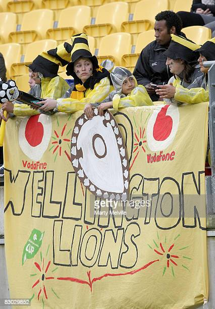 Unimpressed Lions fans look on during the the first half performance during the Air New Zealand Cup match between Wellington and Tasman at the...