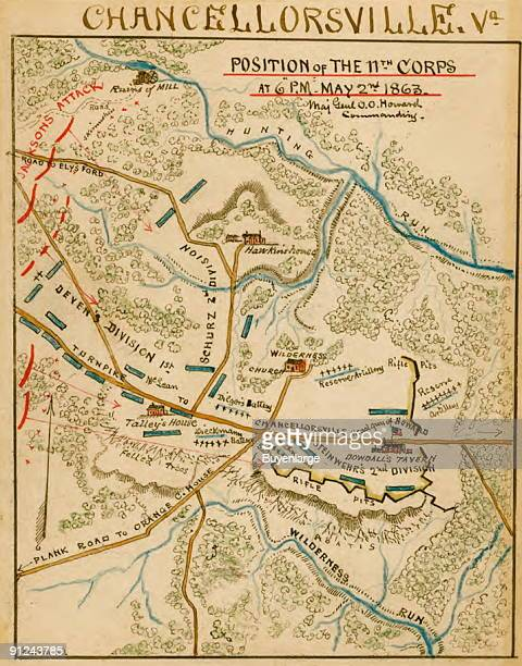 Union and Confederate troops in the area surrounding Chancellorsville Va at 6 pm on May 2 1863 By late afternoon on May 2 Stonewall Jackson's troops...