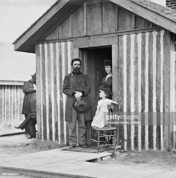 Union Army Brigadier General John A Rawlins Chief of Staff with Wife and Child at Door of Their Quarters City Point Virginia 1860's