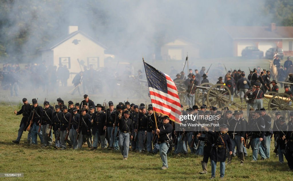 Union Army Reenactors interpret a recreation of 'Bloody Lane' to mark the 150th anniversary of the Battle of Antietam on Saturday September 15 2012...
