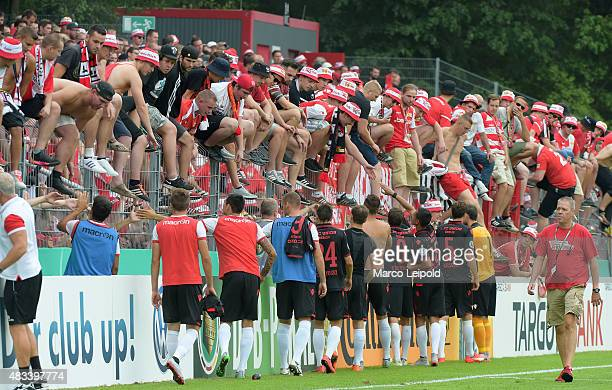 Union Berlin fans during the DFB Cup match between FC Viktoria Koeln and Union Berlin at Sportanlage Hohenberg on August 8 2015 in Koeln Germany