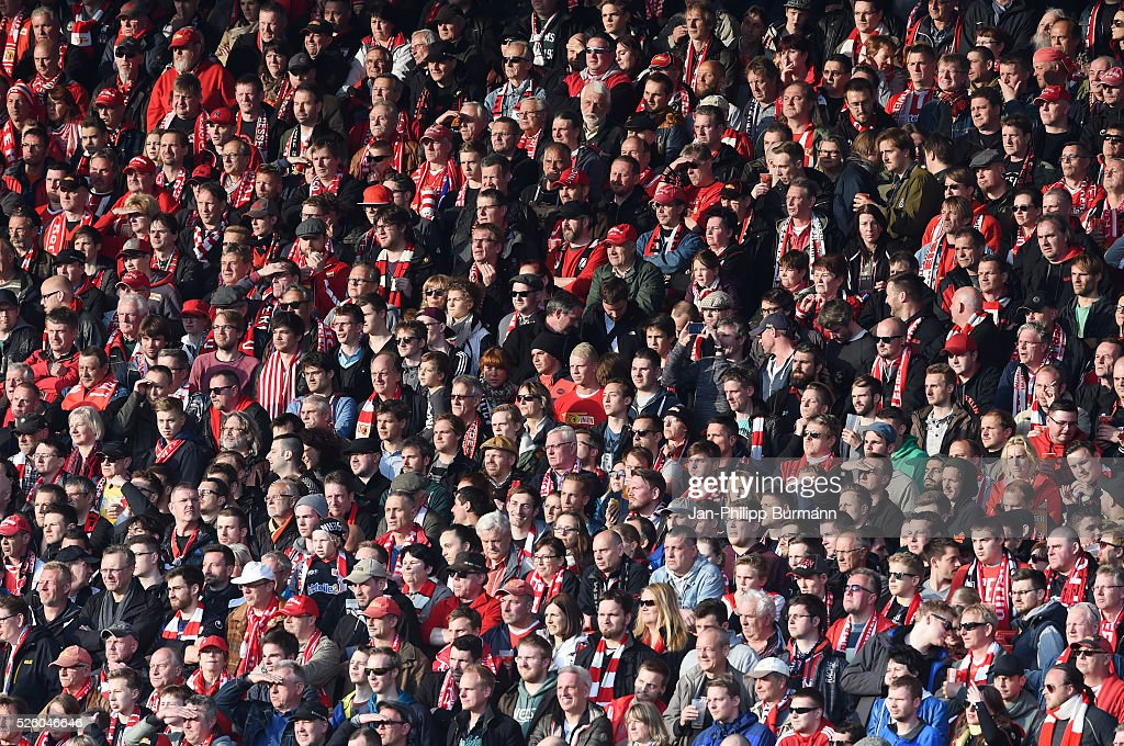 Union Berlin fans during the game between Union Berlin and dem VfL Bochum on April 29, 2016 in Berlin, Germany.