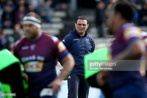 Union Bordeaux Begles Head coach Raphael Ibanez looks on before the Top 14 rugby match between Union Bordeaux Begles and ASM Clermont Auvergne at...