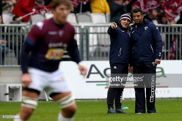 Union Bordeaux Begles's head coach Raphael Ibanez and Coach of Union Bordeaux Begles Emile Ntamack looks on during the Top 14 rugby match between...