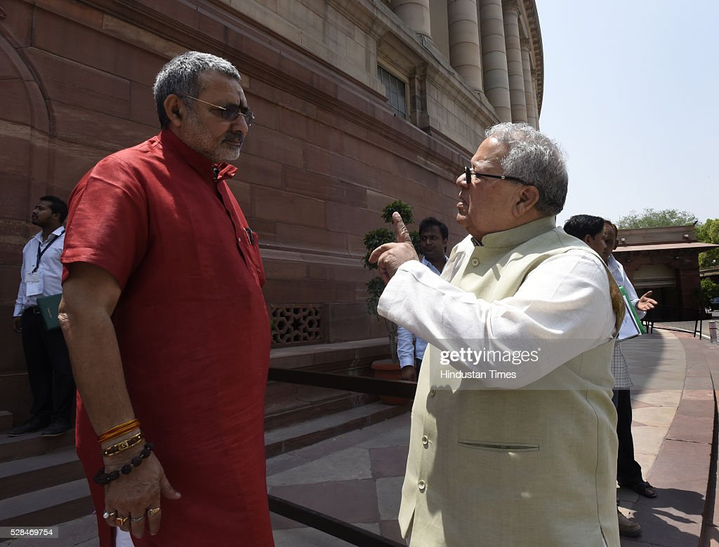 Union Cabinet Minister of Micro, Small and Medium Enterprises Kalraj Mishra with Minister of state micro small and medium enterprises Giriraj Singh arrive for the Parliament Session at Parliament house on May 5, 2016 in New Delhi, India. The Lok Sabha has passed the Insolvency and Bankruptcy code 2016 with all the amendments proposed by the joint committee of Parliament being accepted by the government.