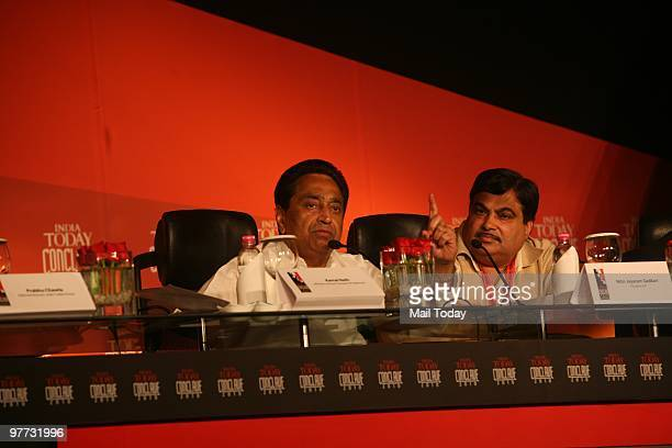Union Cabinet Minister of Road Transport and Highways Kamal Nath and BJP President Nitin Gadkari at the India Today Conclave in New Delhi on March 12...