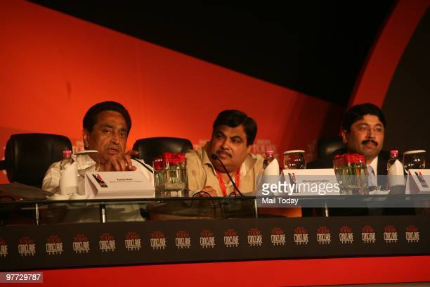 Union Cabinet Minister of Road Transport and Highways Kamal Nath BJP President Nitin Gadkari and Union minister for Textiles Dayanishi Maran at the...