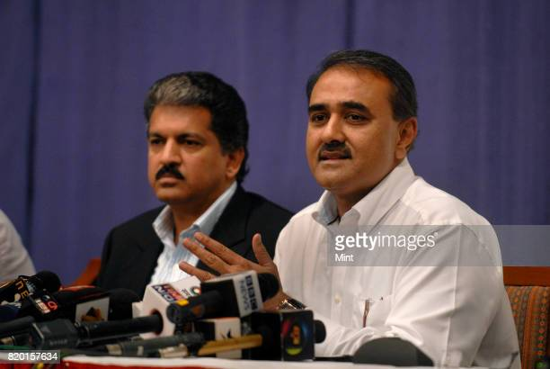 Union Civil Aviation Minister Praful Patel with Anand Mahindra Independent Director of Air India announcing the turnaround plans for the years...
