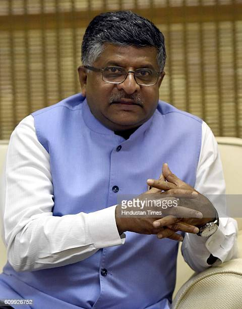 Union Communications Minister Ravi Shankar Prasad during a special interview with Hindustan Times at his office on September 20 2016 in New Delhi...