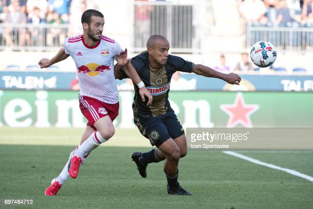 Union D Fabinho keeps the ball from Red Bulls MF Felipe in the first half during the game between the New York Red Bulls and Philadelphia Union on...