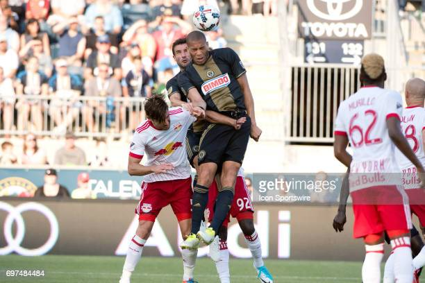 Union D Oguchi Onyewu heads the ball on a corner kick in the second half during the game between the New York Red Bulls and Philadelphia Union on...