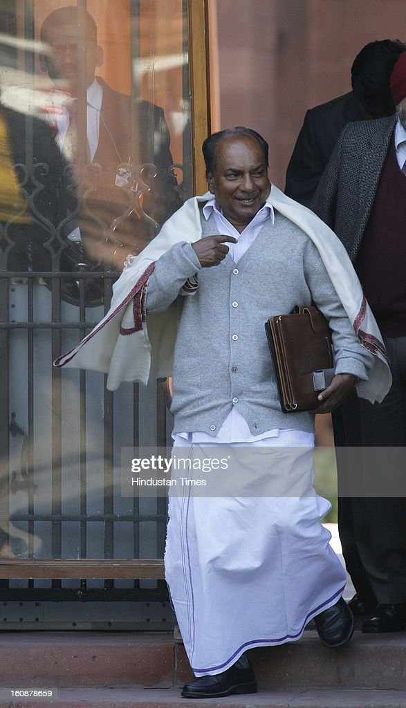 Union Defence Minister A K Antony coming out after Cabinet Meeting at South Block, on February 7, 2013 in New Delhi, India.