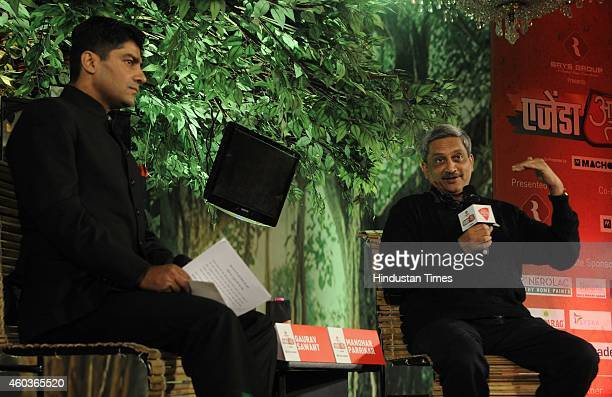Union Defence Minister Manohar Parrikar during the programme 'Agenda Aaj Tak 2014' at Hotel Taj Mahal on December 12 2014 in New Delhi India BJP...