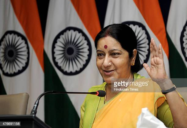Union External Affairs Minister Sushma Swaraj address a media person and a group devotees of first batch of Kailash Mansarovar Yatra at Jawahar Lal...