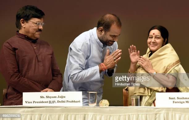 Union External Affairs Minister Sushma Swaraj blessing the South Delhi MP Ramesh Bidhuri as National Vice President and Delhi BJP Incharge Shyam Jaju...