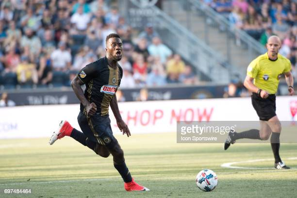 Union F CJ Sapong carries the ball in the second half during the game between the New York Red Bulls and Philadelphia Union on June 18 2017 at Talen...