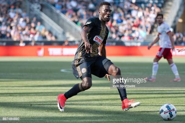 Union F CJ Sapong chases down the ball in the second half during the game between the New York Red Bulls and Philadelphia Union on June 18 2017 at...