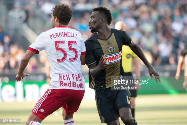 Union F CJ Sapong runs around Red Bulls D Damien Perrinelle in the second half during the game between the New York Red Bulls and Philadelphia Union...