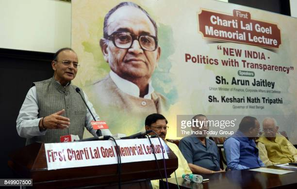 Union Finance Minister Arun Jaitley addresses during the 1st Charti Lal Goel Memorial lecture on 'New India Politics with Transparency' in New Delhi