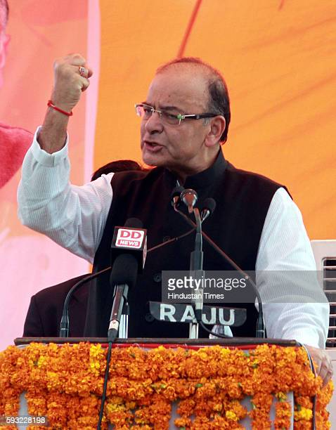 Union Finance Minister Arun Jaitley addressing during the BJP Tiranga Yatra rally as part of 70th Independence Day celebrations at Smailpur in Bari...