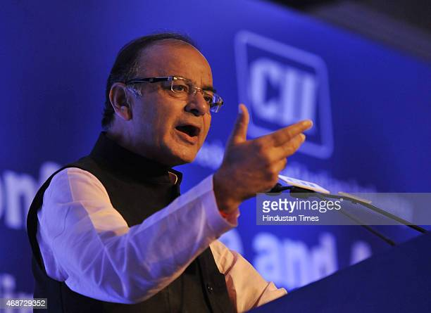 Union Finance Minister Arun Jaitley addressing the National Conference and annual Session 2015 Building India A Shared Responsibility by CII on April...