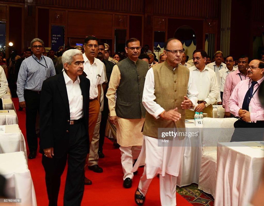 Union Finance Minister Arun Jaitley along with Jayant Sinha - MOS of Finance at All India Conference of Chief Commissioners and Director General of Customs and Central Excise and Service Tax on August 24, 2015 in New Delhi, India.