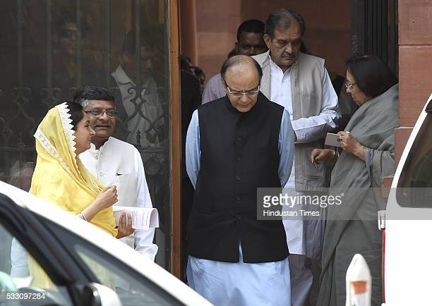 Union Finance Minister Arun Jaitley along with Union Ministers Harsimrat Kaur Badal Najma Heptulla and Ravi shankar Prasad after Cabinet Meeting at...