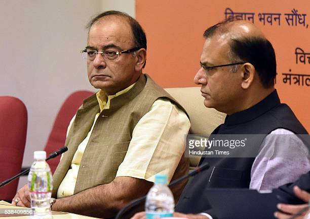 Union Finance Minister Arun Jaitley and Minister of State for Finance Jayant Sinha during the Quarterly Performance Review Meeting of the Chairmen...