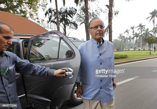 Union Finance Minister Arun Jaitley arrives at the Parliament House during Budget session on February 25 2015 in New Delhi India After introducing...
