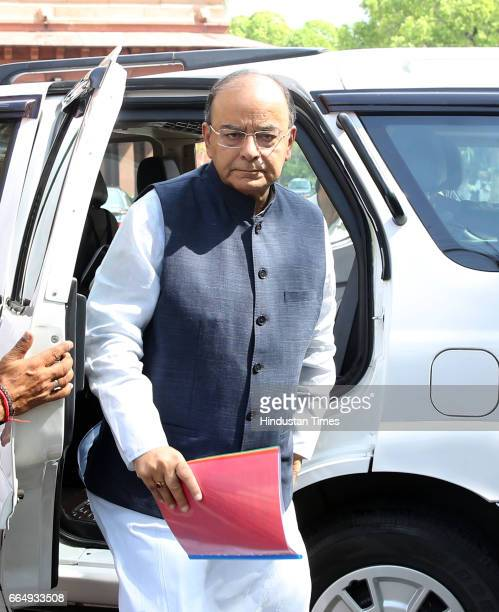 Union Finance Minister Arun Jaitley arrives for attending the Parliament Budget Session on April 5 2017 in New Delhi India Employees suffering injury...