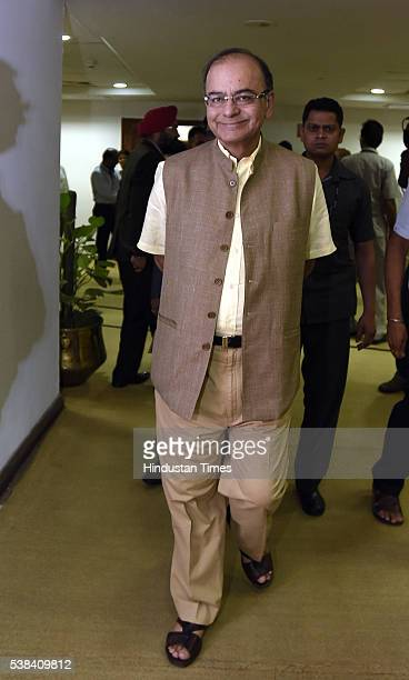 Union Finance Minister Arun Jaitley arrives for the Quarterly Performance Review Meeting of the Chairmen and Managing Directors/CEOs of Public Sector...