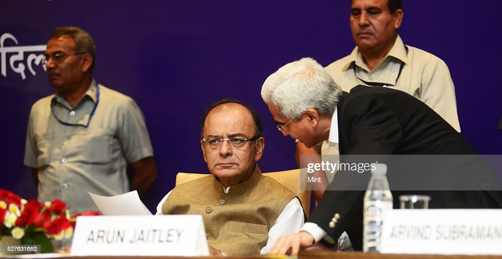 Union Finance Minister Arun Jaitley at All India Conference of Chief Commissioners and Director General of Customs and Central Excise and Service Tax on August 24, 2015 in New Delhi, India.