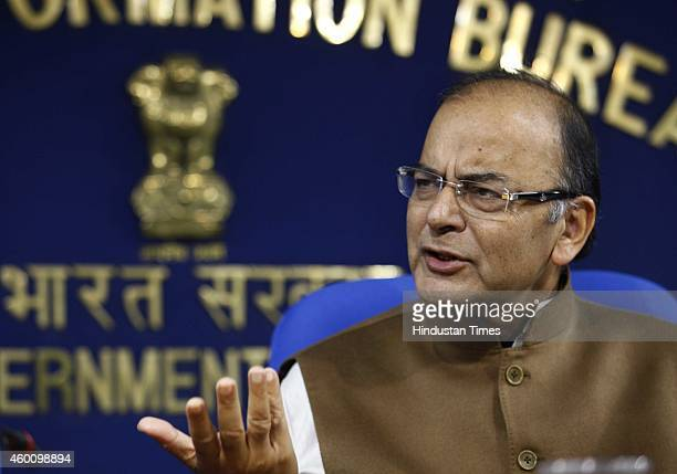Union Finance Minister Arun Jaitley during a press conference after the first round of meetings with Chief Ministers on plan panel revamp at Shastri...