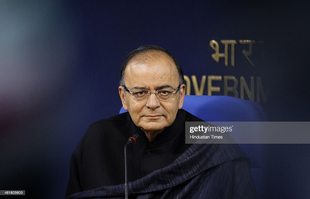 Union Finance Minister <a gi-track='captionPersonalityLinkClicked' href=/galleries/search?phrase=Arun+Jaitley&family=editorial&specificpeople=2660950 ng-click='$event.stopPropagation()'>Arun Jaitley</a> during press conference at Shastri Bhawan on January 20, 2015 in New Delhi, India. As many as 11.5 crore bank accounts have been opened under the Pradhan Mantri Jan Dhan Yojana, exceeding the enhanced target of 10 crore and covering 99.74 per cent of households. A Guinness Book World record has been created for most bank accounts opened in one week as part of the Financial Inclusion Campaign is 18,096,130 and was achieved by the Department of Financial Services, Government of India from August 23 to 29, 2014.