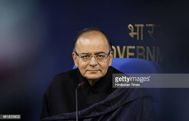 Union Finance Minister Arun Jaitley during press conference at Shastri Bhawan on January 20 2015 in New Delhi India As many as 115 crore bank...