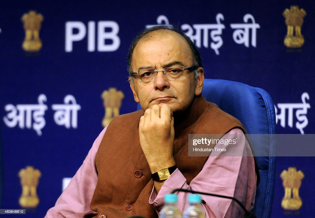 Union Finance Minister <a gi-track='captionPersonalityLinkClicked' href=/galleries/search?phrase=Arun+Jaitley&family=editorial&specificpeople=2660950 ng-click='$event.stopPropagation()'>Arun Jaitley</a> during the launch of Central Services on eBiz Portal at National Media Centre on February 19, 2015 in New Delhi, India. eBiz portal is a government to business portal on which 11 central government services are available for the ease of doing business in the country by providing one-stop clearance platform for investment proposals.