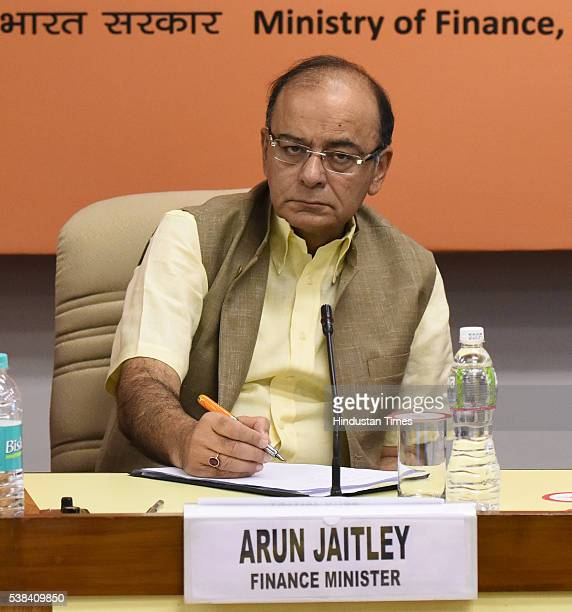 Union Finance Minister Arun Jaitley during the Quarterly Performance Review Meeting of the Chairmen and Managing Directors/CEOs of Public Sector...