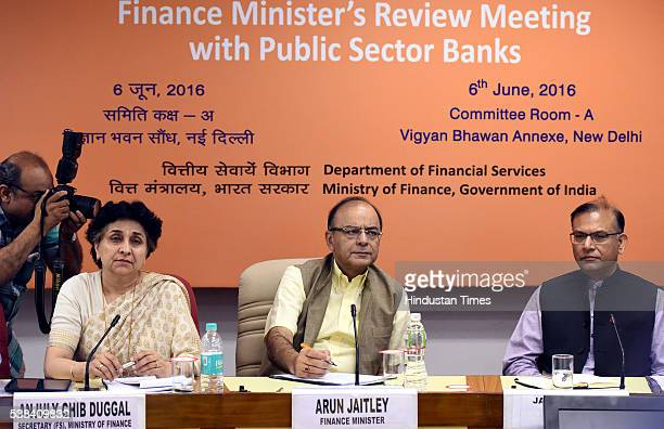 Union Finance Minister Arun Jaitley Secretary Ministry of Finance Anjuly Chib Duggal Minister of State for Finance Jayant Sinha during the Quarterly...