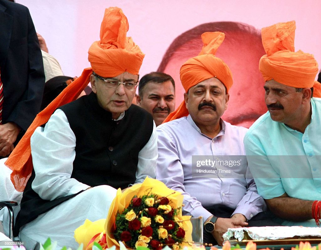 Union Finance Minister Arun Jaitley with MOS PMO Dr Jitendra Singh and Member of Parliament Jugal Kishore Sharma during the BJP Tiranga Yatra rally...