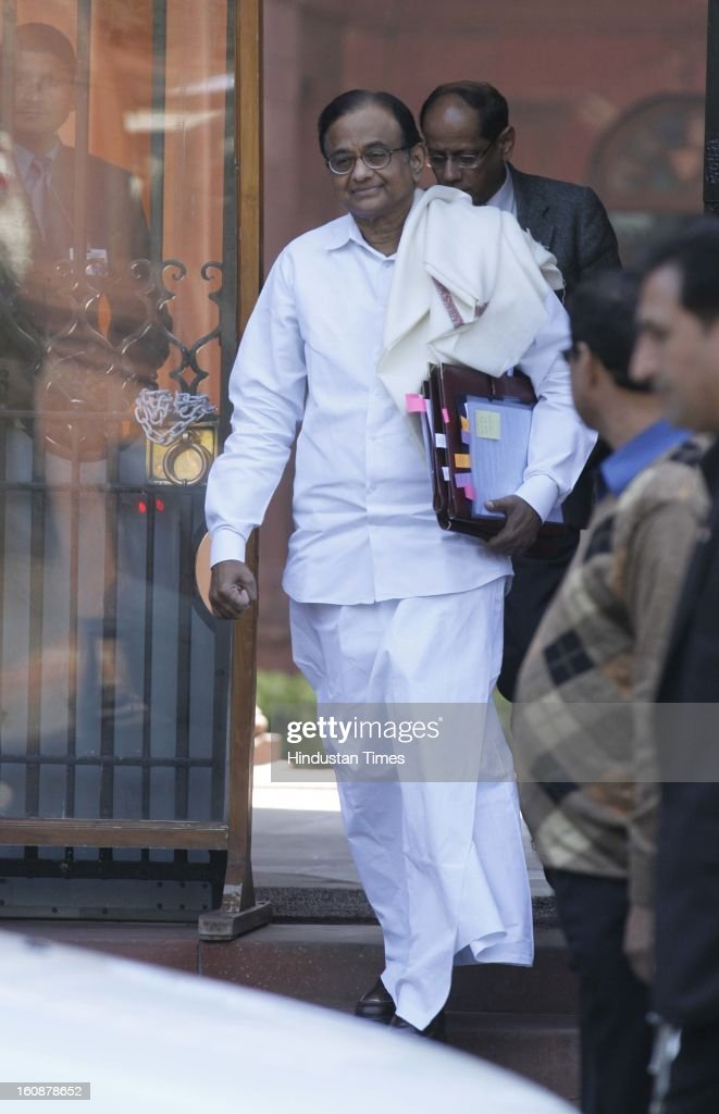 Union Finance Minister P Chidambaram coming out after Cabinet Meeting at South Block, on February 7, 2013 in New Delhi, India.