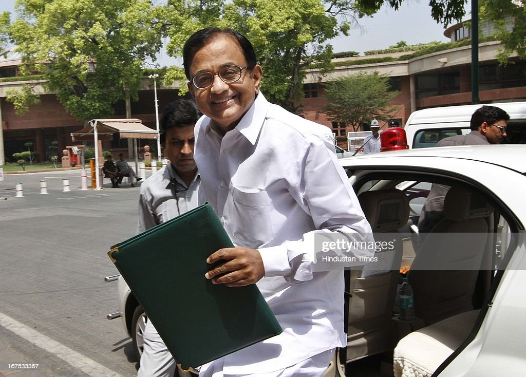 Union Finance Minister P Chidambaram during the budget session at Parliament House on April 26, 2013 in New Delhi, India. The proceedings of Parliament have been disrupted since the start of the second part of Budget session on April 22 due to various issues including coal scam.