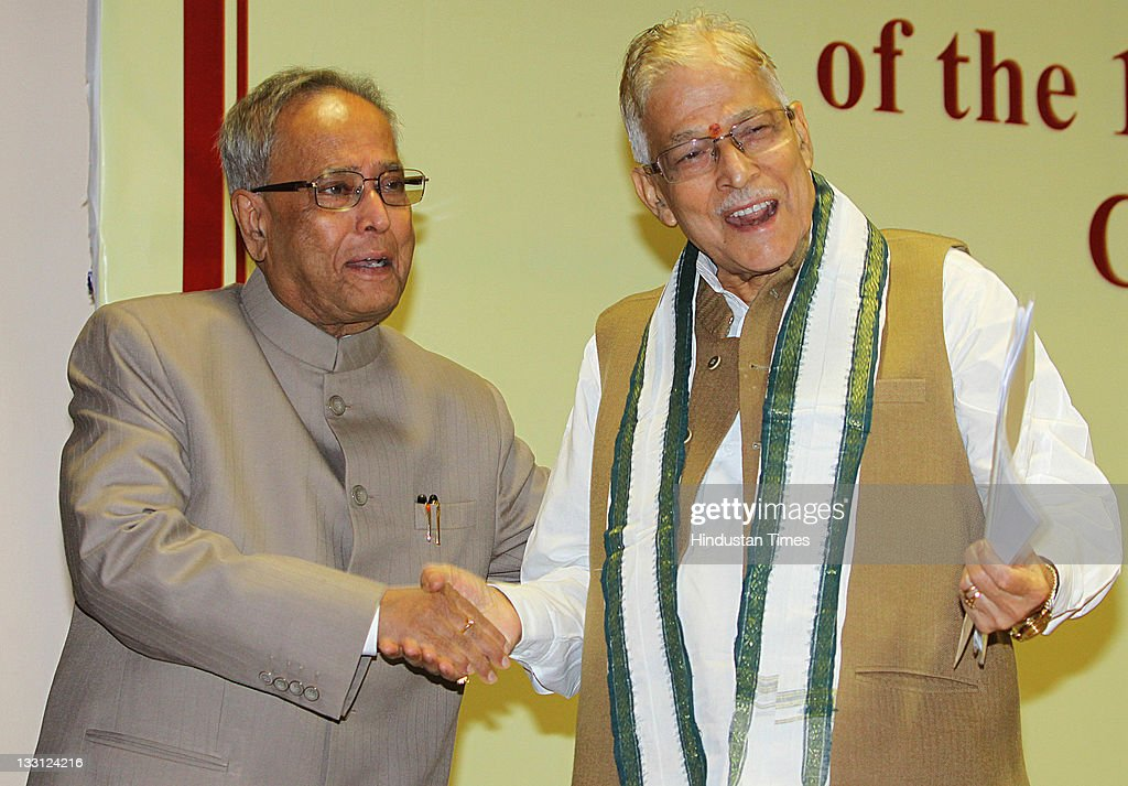 Union Finance Minister <a gi-track='captionPersonalityLinkClicked' href=/galleries/search?phrase=Pranab+Mukherjee&family=editorial&specificpeople=565924 ng-click='$event.stopPropagation()'>Pranab Mukherjee</a> (L) shakes the hand of Chairman of Public Accounts Committee Murli Manohar Joshi (R) during the valedictory function to conclude 150th anniversary celebrations of the institution of the Comptroller and Auditor General of India in New Delhi, India on November 16, 2011.